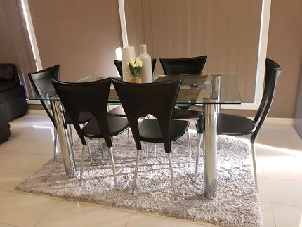FULL SET Glass Dinning Table (6 seater)