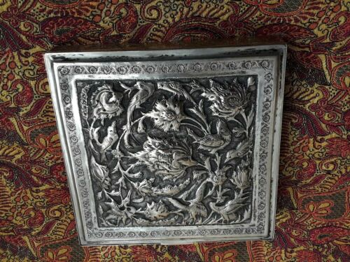 PERSIAN ART EXHIBITION, FASCINATING LARGE SOLID SILVER TOP DOME BOX