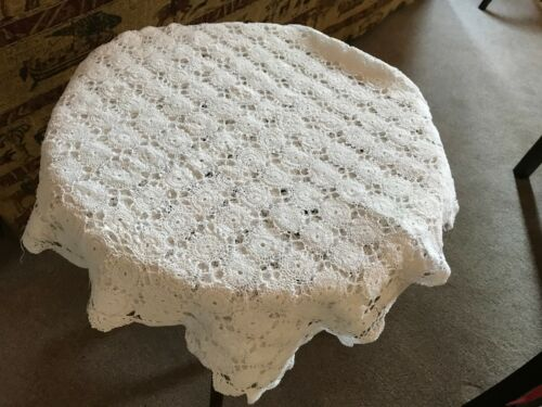 Vintage white hand crocheted tablecloth