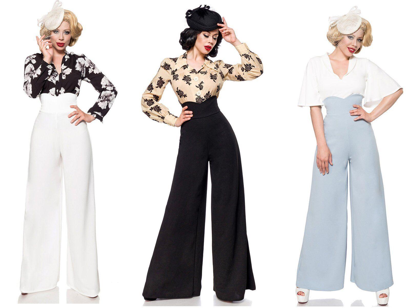 Weite Marlene Hosen Damen hohe Taille Vintage Retro 5 Farben Gr. 32-44 Belsira