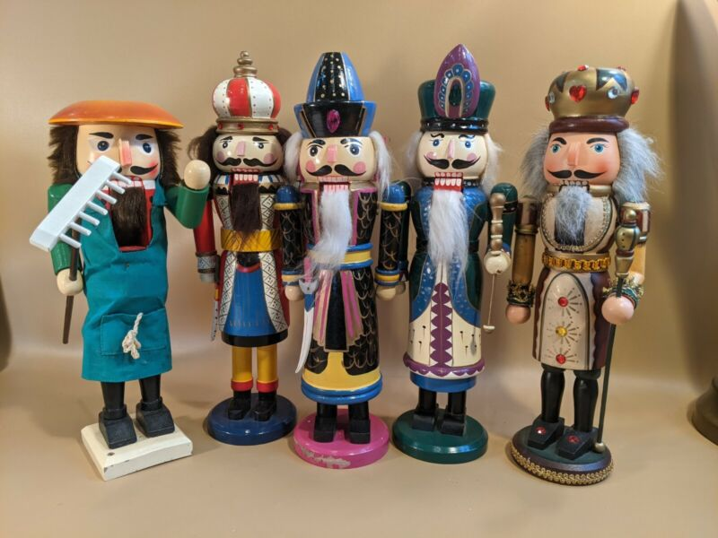 Lot Of 5 Vintage Wooden Painted Nutcrackers