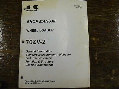 Kawasaki 70zv-2 Wheel Loader Adjustment Shop Service Repair Manual