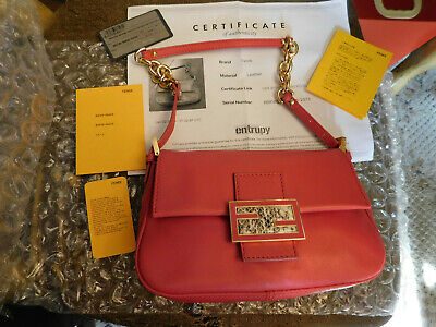RED Fendi Leather w/ Snakeskin trim Water Snake Baguette Bag - 100% Authentic