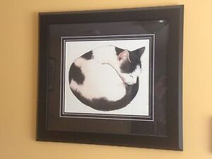 Professionally framed cat print.