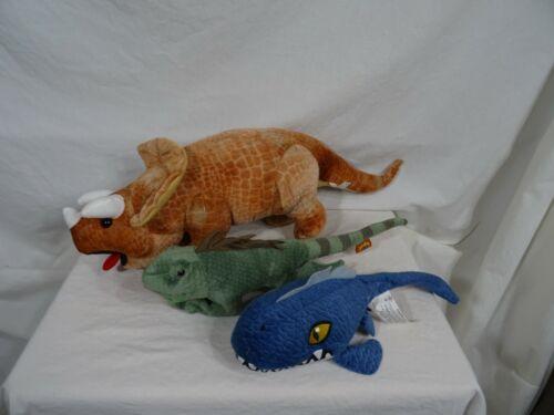 "Goffa Triceratops Dinosaur Plush  21""  Iguana Plush 15"" JW Mososaurus Plush 12"""