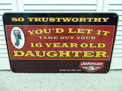 Vintage 1990s Johnson Outboard Motors Sign Boat Trust With 16 year Old Daughter