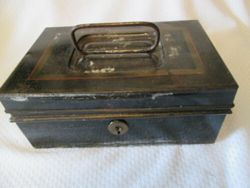 VintageTin Lock storage box black gold - no key