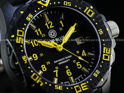 New Deep Blue 46mm DayNight Swiss Quartz Tritium Dial Sapphire Black CFRP Watch