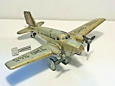 ✈️ Rare 1940s HAMMERER & KÜHLWEIN GERMANY Clockwork Tinplate Aeroplane TRO 345