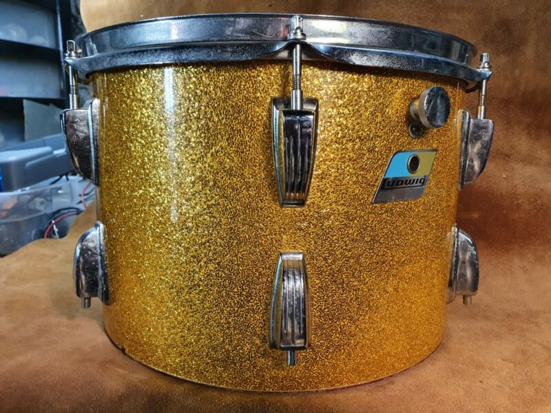Vintage Ludwig USA 9 X 13 Gold Sparkle Rack Tom Drum 70s B/O Badge