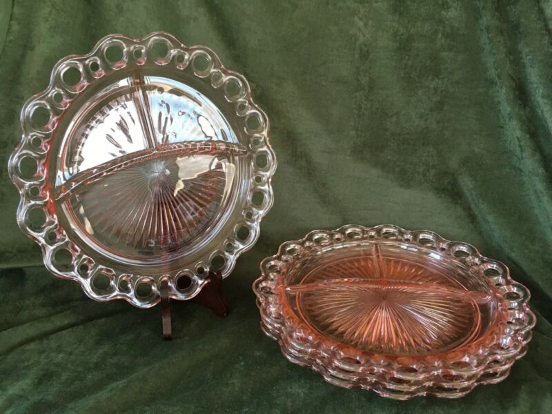 Lot Of 4 Pink Old Colony/Open Lace Grill Plates ~ Vintage Depression Glass