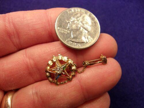 #2 of 5, NICE VTG 10K GOLD EASTERN STAR OES PIN, DIAMOND + HAMMER / GAVEL GUARD