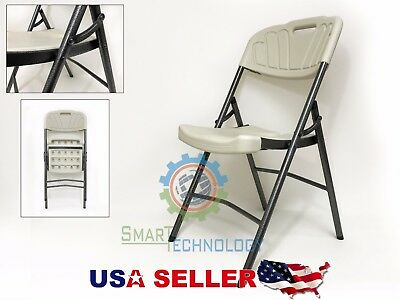 NEW Indoor Outdoor PLASTIC Folding Chairs Metal Frame BEST QWALITY GREY ()