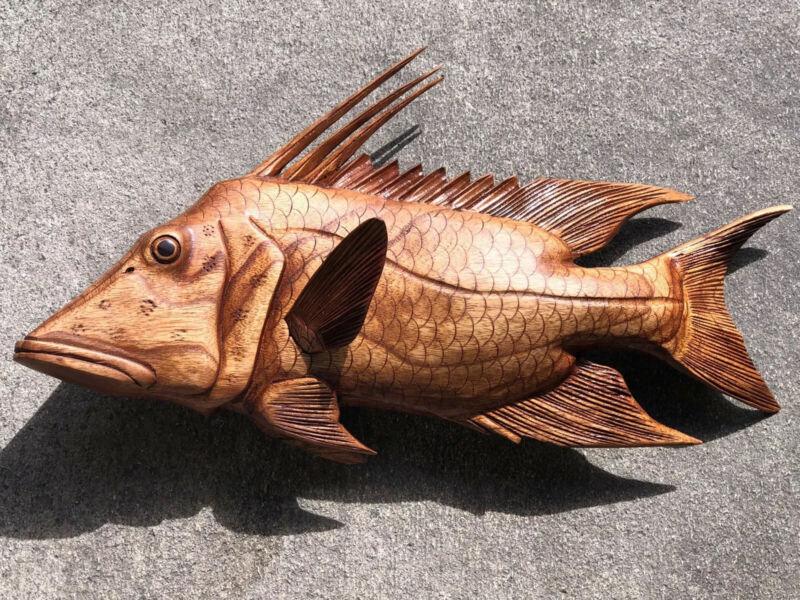 HOGFISH WALL HAND CARVED WOOD ART HOME DECOR FISH TIKI BAR SALTWATER