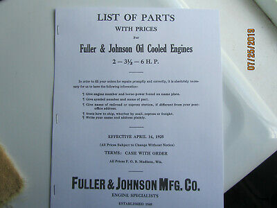 1925 Fuller Johnson Oil Cooled Gas Engine Parts Manual 2hp To 6hp