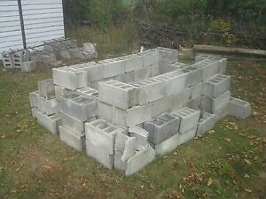 cinder blocks and grill