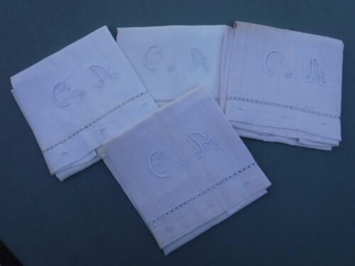 4pc Antique Heavy Linen Pillowcases CA Embroidered Monogram