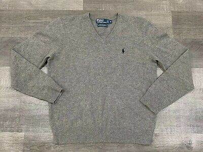 EUC Polo Ralph Lauren 100% Lambs Wool V Neck Sweater Grey Gray M Gray Wool V-neck Sweater