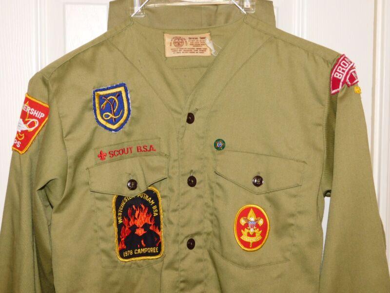 Vtg BSA Boy Scouts BRONXVILLE NY Patches Uniform Shirt Pants Set