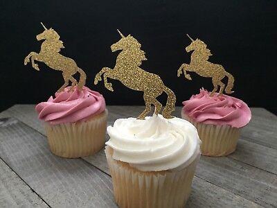 12 gold glitter unicorn cupcake toppers/unicorn party/unicorn Birthday