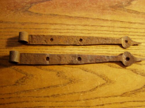 Pair of SMALL  Antique Hand Forged Barn Door Strap Hinges