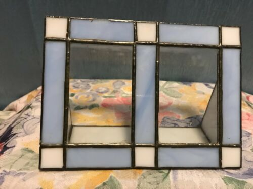 """Vintage ART DECO Style STAINED LEADED SLAG GLASS Double Picture Frame 6.75 x 5"""""""