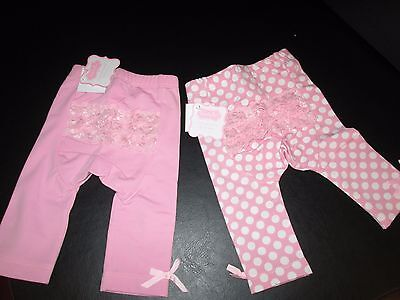 Mud Pie Light Pink Playground Shorties, Solid & Polka Dot, 2T/3T, Set of 2, NWT