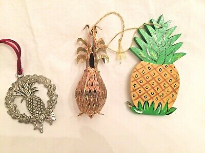 3 Pineapple Ornaments:  Gold Williamsburg, Pewter Pineapple Wreath,  & Painted Painted Pewter Ornament