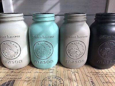 Custom Painted Quart Mason Jar Chalk Paint Wedding Fall Decor New Colors