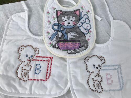 "3 VTG Handmade Baby Bibs Cross Stitched Lot Kitten Cat Bear Block ~10"" x 8"""