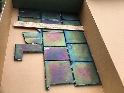 Original Iridescent Glass Mosaic Tile Oil Slick Craft Projects 30 Years Old