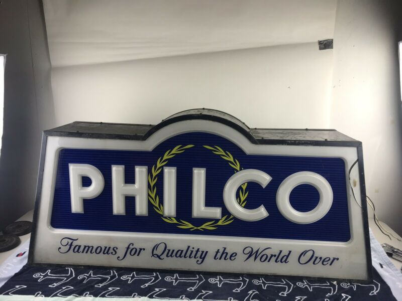 VINTAGE PHILCO RADIO TV ADVERTISING LIGHTED SIGN DISPLAY