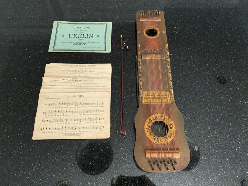 Vintage Antique Hawaiin Ukelin, 1925 w/ Directions & Sheet Music