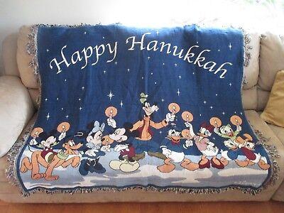 Disney Happy Hanukkah Menorah Blanket Throw Mickey Minnie Goofy Donald Daisy