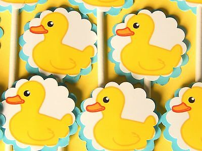 15 BABY DUCK  Cupcake Toppers Birthday Party Favors, Baby Shower Decoration 15](Duck Party Favors)