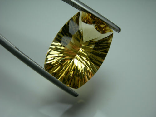10.2ct rare Heliodor gem Yellow Beryl Golden Gemstone Brazil Concave Cushion Cut