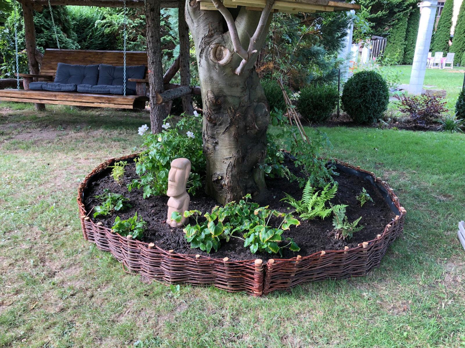 Beeteinfassung Weide Garten Beetumrandung Weiden Zaun Beet-Abgrenzung Steckzaun