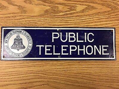 Vintage New England Telephone Bell System Public Telephone Porcelain Sign *RARE*