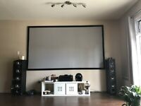 Home theater projector screen, solid velvet covered frame($1400)