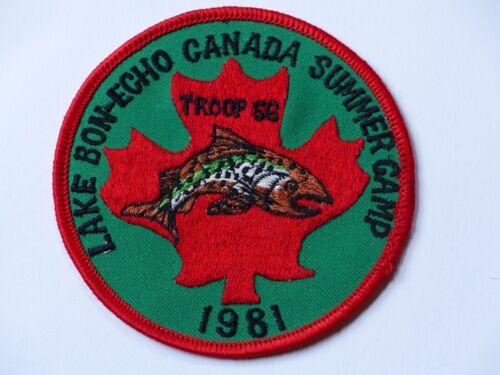 Unused 1981 Troop 56 Lake Bon-Echo Canada Summer Camp Boy Scout Patch Ontario