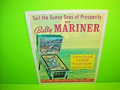 Bally MARINER 1971 Original Pinball Machine Flipper Game Promo Sales Flyer