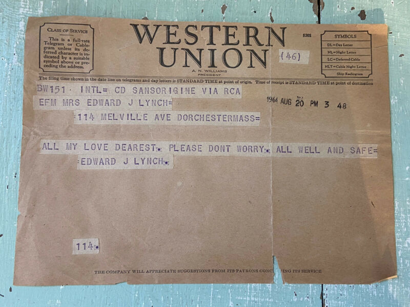 WW2 Western Union Telegram 1944