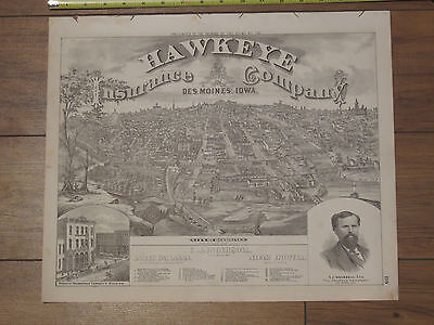 City of Des Moines 1875 Map Portrait - Hawkeye Insurance Company Polk County IA - Map Of Party City