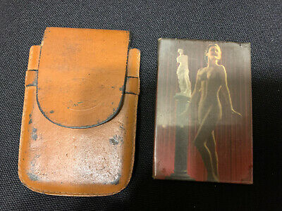 Vintage Celluloid Nude Pin Up Girls Model Risque Pocket Mirror 3x2 With Case
