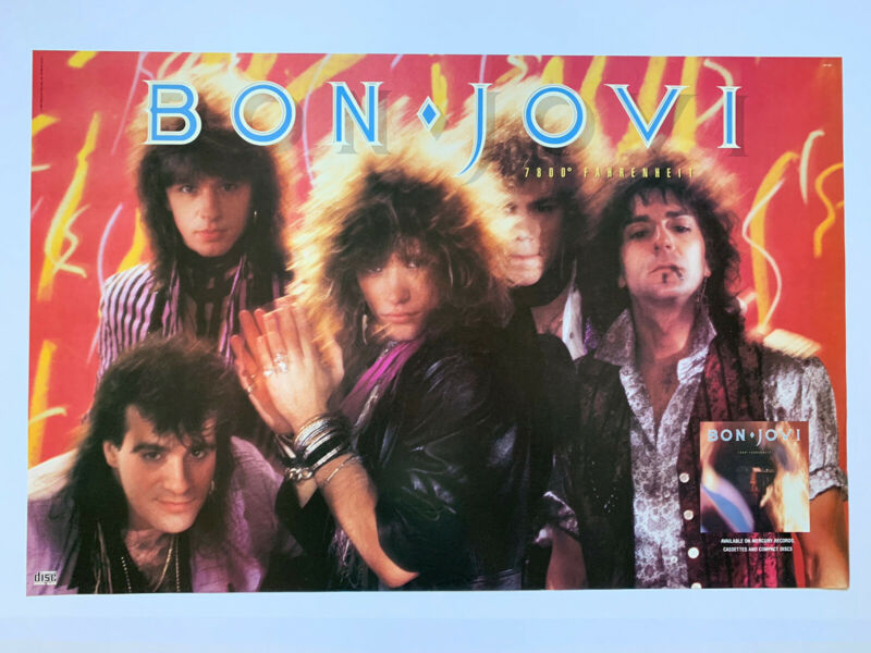 "Original 1985 Bon Jovi 7800 Fahrenheit Promotional Rock Poster 35"" X 23"" Jon"