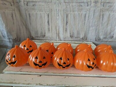 Pumpkin pathway blow mold white covers vintage set 10
