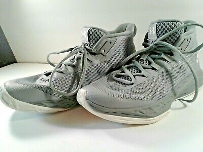 UNDER ARMOUR HIGH TOP TENNIS SHOES, GRAY WITH WHITE TRIM , MEN'S SIZE 7.5