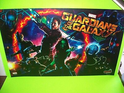 GUARDIANS OF THE GALAXY Marvel ORIGINAL NOS Pinball Machine Translite SIGNED