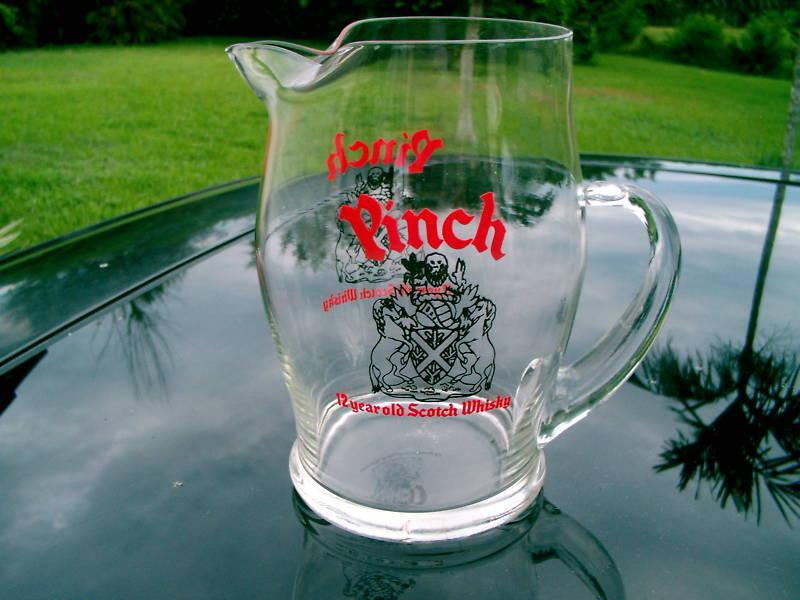 "PINCH 12 YR. SCOTCH WHISKY GLASS PITCHER  6.5"" REPLACE"