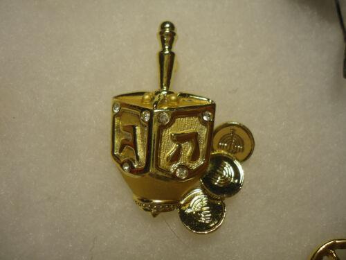 Danecraft vtg/nos gold tone dreidel pin